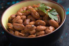 Cooked white beans. Cooked white kidney beans ready for eating royalty free stock image