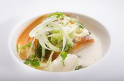 Cooked white fish fillet Stock Photo