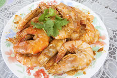 Cooked Whole Prawns with Garlic Sauce Stock Photos