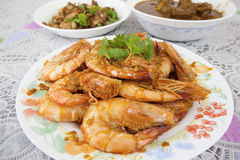 Cooked Whole Prawns with Garlic Sauce Closeup Royalty Free Stock Photography