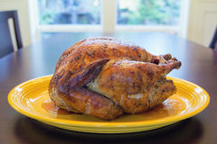 Cooked Whole Turkey on Yellow Platter royalty free stock photo