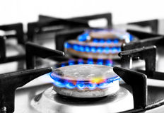 Cooker gas hob with flames burning Stock Photos