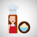 Cooker girl bowl wheat flour Royalty Free Stock Photo