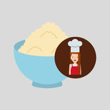 Cooker girl bowl wheat flour Royalty Free Stock Image