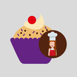 Cooker girl cupcake chips cherry. Vector illustration eps 10 Royalty Free Stock Images