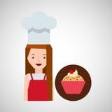 Cooker girl cupcake chips cherry. Vector illustration eps 10 Stock Images