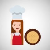 Cooker girl delicious cookie. Vector illustration eps 10 Royalty Free Stock Photos