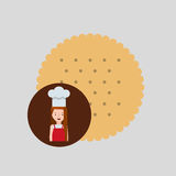Cooker girl delicious cookie. Vector illustration eps 10 Stock Photography