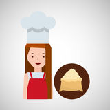 Cooker girl flour sack Stock Photo