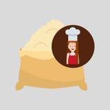 Cooker girl flour sack Stock Photo