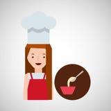Cooker girl spoon flour bowl Stock Photos