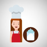 Cooker girl sugar pot Stock Images