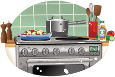 Cooker hob and saucepan Royalty Free Stock Images