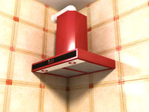 Cooker hood detail. New red cooker hood detail Royalty Free Stock Photo