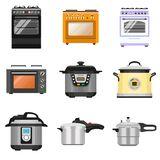 Cooker icon set, flat style royalty free illustration