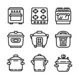 Cooker icon set, outline style vector illustration