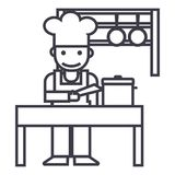 Cooker,shef,kitchen, restaurant vector line icon, sign, illustration on background, editable strokes Royalty Free Stock Photo