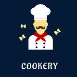 Cookery flat concept with chef in uniform Stock Images