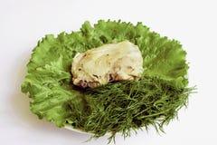 cookery Galinha fritada e vegetais Fotografia de Stock