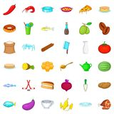 Cookery icons set, cartoon style Stock Photography