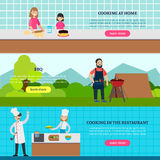 Cookery People Horizontal Banners Stock Photos
