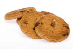 Cookie. A pile of chocolate chip cookies isolated on a white background Royalty Free Stock Images