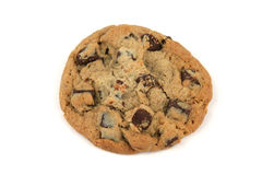 Cookie. One chocolate chip cookie on a whiter background Royalty Free Stock Photography