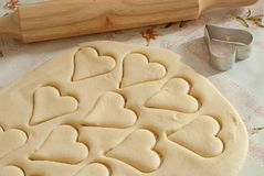 Cookie. Party Invitation with dough, rolling pin,  cutters stock photos