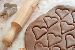 Cookie. Party Invitation with dough, rolling pin,  cutters royalty free stock photography