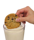 Cookie. A photo of a woman dipping a chocolate chip cookie in milk Stock Photography