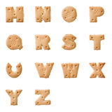 Cookie alphabet. The alphabet made from cookies, isolated on white Stock Photography