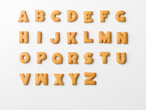 Cookie alphabet. Cookie letter alphabet on white background Stock Images
