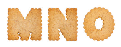 Cookie alphabet symbols MNO. Isolated on white background. MNO from full alphabet set Royalty Free Stock Images