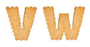 Cookie alphabet symbols VW. Isolated on white background. VW from full alphabet set Stock Photos