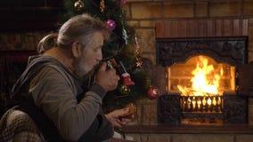 Cookie antropófaga superior e chá bebendo perto da chaminé na Noite de Natal vídeos de arquivo
