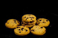 Fresh round sweet chocolate chip cookie`s. A cookie is a baked or cooked food that is small, flat and sweet. It usually contains flour, sugar and some type of Royalty Free Stock Photography