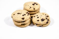 Chocolate chips cookies good food. A cookie is a baked or cooked food that is small, flat and sweet. It usually contains flour, sugar and some type of oil or fat Royalty Free Stock Photography