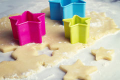 Cookie baking preparation cutting shapes Stock Photos