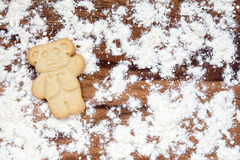 Cookie bear with flour Stock Image