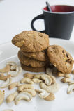 Cookie biscuit baked breakfast meal cashew coffee concept Royalty Free Stock Photos