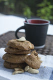 Cookie biscuit baked breakfast meal cashew coffee concept Royalty Free Stock Photography