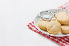 Cookie or biscuit Shortbread in white plate on a wooden background Stock Image