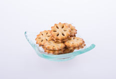 cookie biscuits with filling on background Stock Image