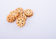 cookie biscuits with filling on background Stock Images