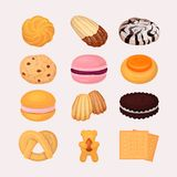 Cookie and biscuits vector baking pastry and baked cooking for breakfast in bakery illustration candy and biscuity vector illustration