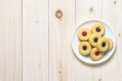 Cookie biscuits on wooden table Royalty Free Stock Photos