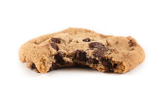 Cookie with bite missing on isolated background. Royalty Free Stock Photos