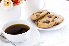 Cookie with black coffee and flow Stock Image