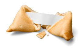Broken Fortune Cookie with Blank Piece of Paper. Cookie blank fortune white background paper isolated royalty free stock photo