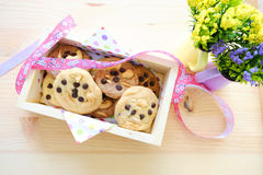 Chocolate chip,almond,cashew nuts cookies gift in the Box wood. Cookie gift in the Box Royalty Free Stock Images